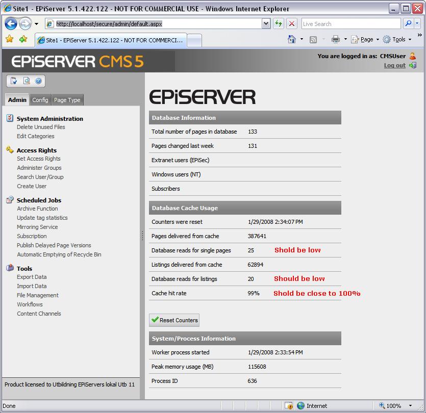 Performance Tuning and Optimization of EPiServer